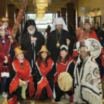 Metropolitan Jonah and Bishop Benjamin are greeted by Alaskan dancers upon their arrival at the 16th All-American Council.