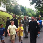 Walkers set out on 11-mile route from Saint John Church, Mayfield, PA to Saint Tikhon's Monastery.