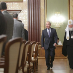 Prime Minister Vladimir V. Putin with Patriarch Kirill I, leader of the Russian Orthodox Church, in May.