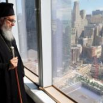 Archbishop Demetrios is looking at the future site of St. Nicholas Greek Orthodox Church