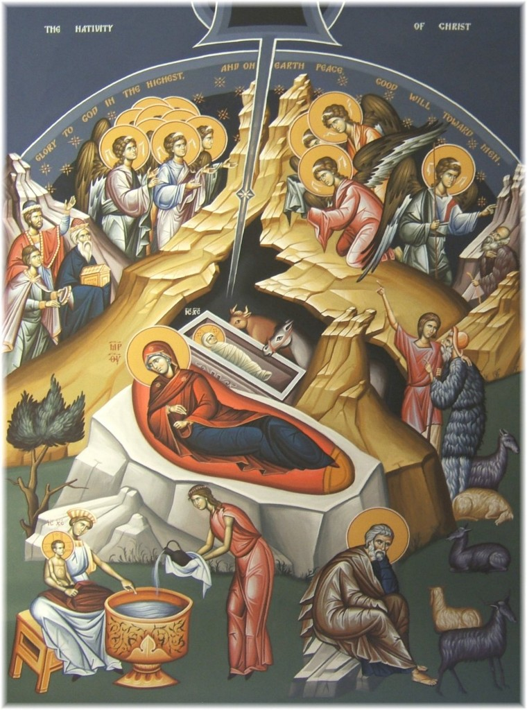Nativity of the Jesus Christ - fresco at Holy Trinity Serbian Orthodox Church, Butte MT - http://holytrinitybutte.org/fresco.html.