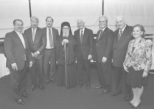 "Michael and Mary Jaharis hosted a private dinner for the Founders and guests of ""Faith – An Endowment for Orthodoxy and Hellenism"" at Le Cirque restaurant in June. Seen (L-R) Andrew Liveris, James Chanos, Charles Calomiris, Archbishop Demetrios, John Calamos, Michael Jaharis, Mary Jaharis."