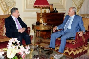 A meeting between Speaker Nabih Berri and Former Prime Minister Fouad Siniora. (The Daily Star)