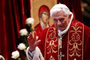 "Pope Benedict XVI: """"I have come to the certainty that my strengths, due to an advanced age, are no longer suited to an adequate exercise of the Petrine ministry."" Source: Reuters"