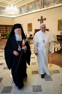 Pope Francis walks with Ecumenical Patriarch Bartholomew of Constantinople at the Vatican March 20. The pope met with Patriarch Bartholomew before a meeting with the Christian, Jewish, Muslim, Buddhist, Hindu, Sikh and Jain delegations that had come to the Vatican for his inauguration. (CNS photo/L'Osservatore Romano) (March 20, 2013) See FRANCIS-DIALOGUE March 20, 2013.