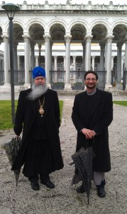 "Metropolitan Tikhon and Father Eric at the church of ""St. Paul Outside the Walls,"" where St. Paul's tomb is located"