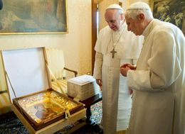 Pope Francis with former Pope Benedict XVI
