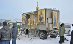 Church-in-a-box … A Russian military Orthodox chapel. Photographs: Russian Airborne Force