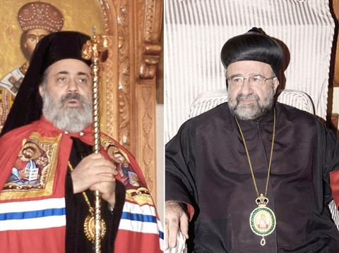 In this undated combo picture released by the Syrian official news agency SANA, Bishop Boulos Yazigi of the Greek Orthodox Church, left, and John Ibrahim of the Assyrian Orthodox Church, right, who were kidnapped Monday, in the northern province of Aleppo, Syria. (AP Photo/SANA)
