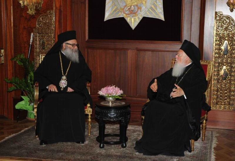 His All-Holiness Ecumenical Patriarch Bartholomew (right) with His Beatitude Patriarch John X of Antioch, meeting at the Phanar.