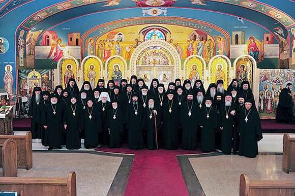 Commemorative photo of the third annual meeting of the Assembly of Bishops in September, 2012. Archbishop Demetrios of America (7th from L) is the Assembly's Chair.