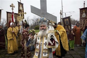 Bishop Cyril leads an Orthodox procession in central Varna, some 450 km (280 miles) northeast of Sofia April 7, 2013. REUTERS-Stringer