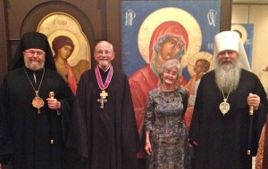 Fr. Thomas and Anne Hopko with Metropolitan Tikhon and Bishop Irénée.