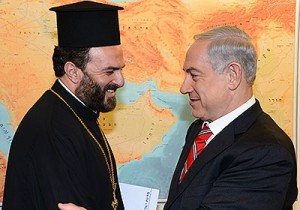 Father Gabriel Nadaf, a Greek Orthodox priest from Nazareth and spiritual leader of a forum for the enlistment of Christian youth in the IDF, meeting Prime Minister Benjamin Netanyahu. Photo: Prime Minister's Office of Communication.