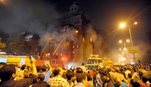 Muslim extremists burn yet another church in Egypt in a wild rampage yesterday