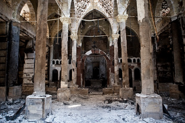 The remains of the Amir Tadros Coptic Church in Minya, southern Egypt. (VIRGINIE NGUYEN HOANG/AFP/Getty Images)