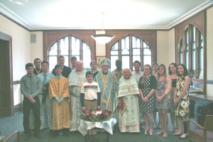 Students with Bishop Michael and concelebrating clergy.