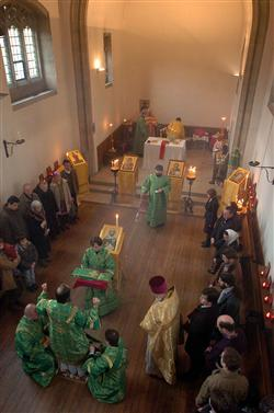 A Russian Orthodox Sunday service in Jesus Lane, Cambridge, in 2011. Picture by Gary Wharmby