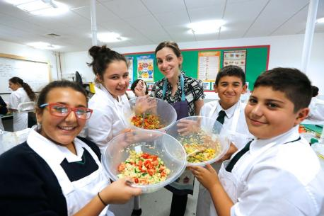 Food technology students at the school show off their latest creations of vegetable cous cous