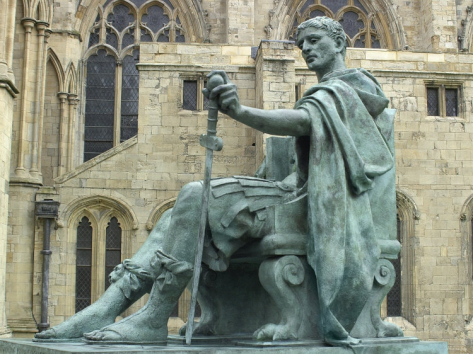 STATUE OF CONSTANTINE THE GREAT IN YORK, ENGLAND, WHERE HE WAS PROCLAIMED ROMAN EMPEROR IN 306