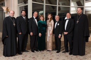Seminary Chancellor/CEO Archpriest Chad Hatfield; Alumni Association Board Chair Gregory Abdalah; Alex Machaskee, 75th Anniversary Co-Chair; Matushka Sharon Rubis and Tatiana Hoff, Banquet Co-Chairs; Tony Kasmer, 75th Anniversary Co-Chair; Theodore Bazil, Master of Ceremonies; Seminary Dean Archpriest John Behr.