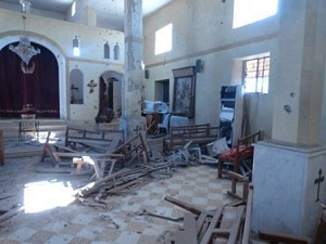 Sadad is a small town of 15,000 people, mostly Syriac Orthodox Christians, located 160 km north of Damascus. It has 14 churches and a monastery with four priests. This depicts one of the bombed out churches.