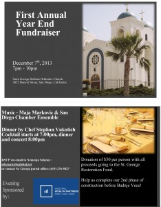 First Annual Year End Fundraiser: San Diego, CA @ St. George Social Hall | San Diego | California | United States