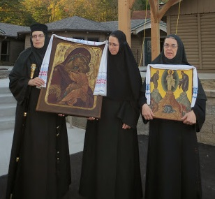 Mother Abbess Christophora with members of the sisterhood of Transfiguration Monastery