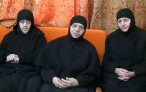 THREE OF THE KIDNAPPED NUNS ARE SHOWN IN THE NEWLY RELEASED VIDEO. YOUTUBE/LBCINEWS