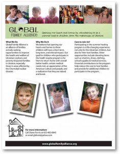 Global Family Alliance Needs Host Families in the Seattle Area for Ukrainian Children Affected by Chernoybl – Summer 2014!