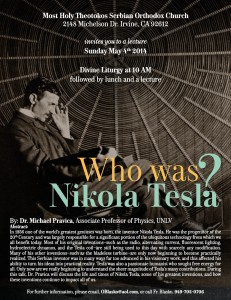 Lecture about Nikola Tesla by Prof. Dr.Michael Pravica @ Most Holy Theotokos Serbian Orthodox Church | Irvine | California | United States