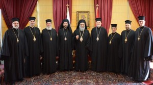 Patriarch John X with Metropolitan Silouan and Archbishop Joseph, Bishop Basil, Bishop Thomas, Bishop Alexander, Bishop John, Bishop Anthony and Bishop Nicholas