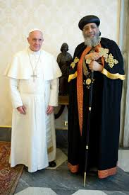 Coptic Pope Tawadros II with Roman Catholic Pope Francis