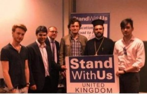 Father Gabriel Nadaf with members of King's College London's newly-launched Israel Society