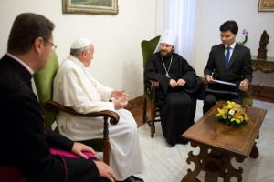 Pope Francis meeting with Metropolitan Hilarion