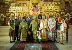 Members of 2013 San Esteban mission team with Archbishop Alejo at Mexico City's Ascension Cathedral.