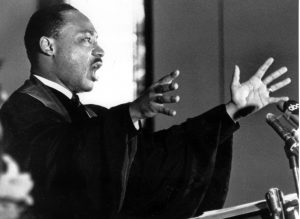 The Rev. Martin Luther King Jr. preaches to the congregation in Ebenezer Baptist Church in Atlanta on April 30, 1967. (Associated Press)