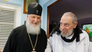 Fidel Castro and Russian Orthodox Patriarch Kirill in Havana.