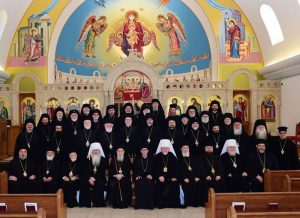 Hierarchs gathered following the celebration of the Divine Liturgy at the Antiochian Basilica of Saint Mary in Livonia, Michigan on October 4, 2016.