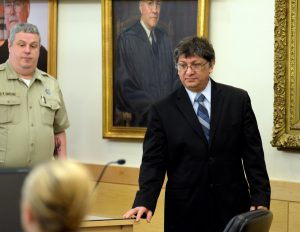 Bangor, ME -- April 27, 2015 --  Adam Metropoulos (right), 53, a former priest at St. George Greek Orthodox Church in Bangor, was sentenced Monday at the Penobscot Judicial Center to 12 years in prison with all but 6 1/2 years suspended for sex crimes involving children. Linda Coan O'Kresik | BDN
