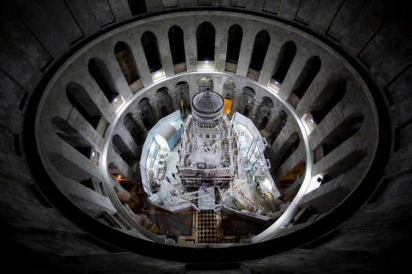 The shrine that houses the traditional burial place of Jesus Christ is undergoing restoration inside the Church of the Holy Sepulchre in Jerusalem. PHOTOGRAPH BY ODED BALILTY, AP FOR NATIONAL GEOGRAPHIC