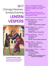 Sunday Evening Lenten Vesper Services: Chicago Area